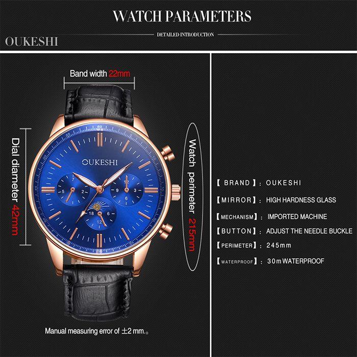 OUKESHI Faux Leather Band Quartz Watch