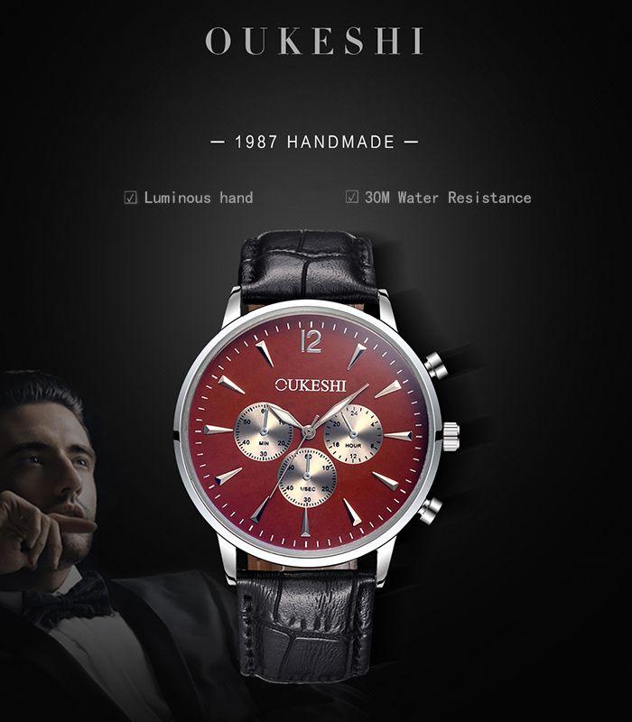 OUKESHI Faux Leather Strap Qaurtz Watch