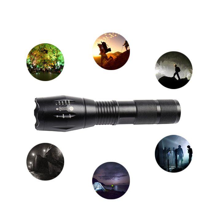 5 Modes Telescopic Zoom Waterproof Flashlight – Black