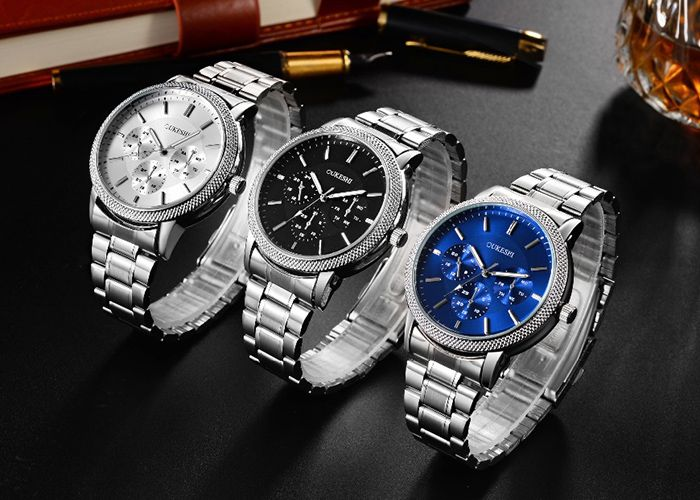 OUKESHI Metallic Strap Analog Quartz Watch