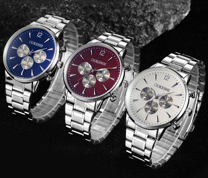 OUKESHI Metallic Strap Quartz Wrist Watch
