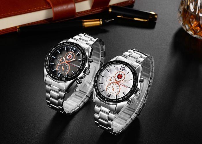 OUKESHI Alloy Strap Tachymeter Quartz Watch