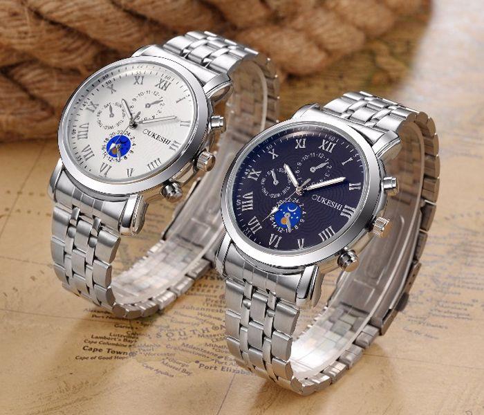 OUKESHI Alloy Strap Roman Numeral Quartz Watch