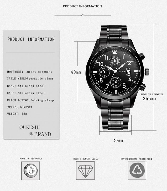 OUKESHI Number Date Quartz Wrist Watch