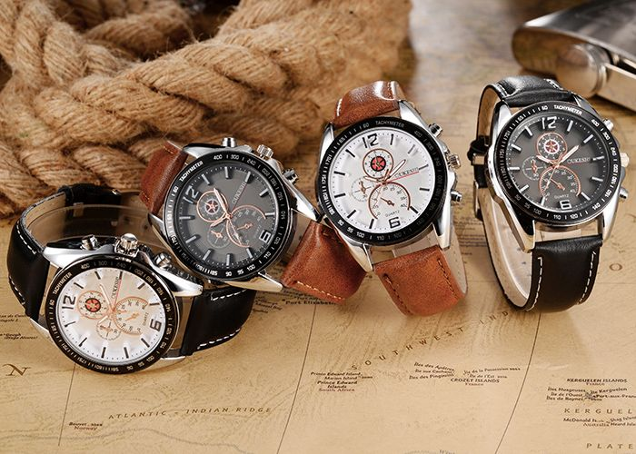 OUKESHI Tachymeter Faux Leather Strap Watch