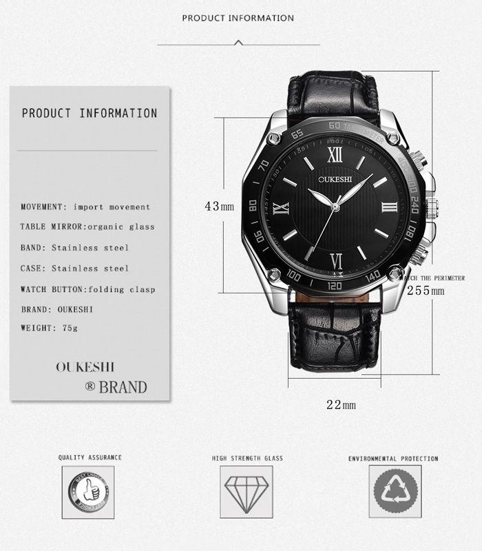OUKESHI Roman Numeral Tachymeter Quartz Watch