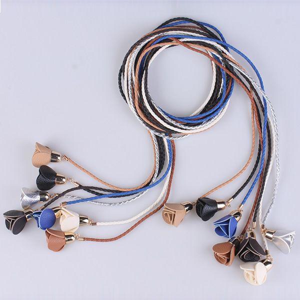 Faux Leather Rope Weaving Flower Belt