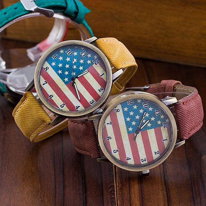 Stars And Stripes Flag Jeans Quartz Watch