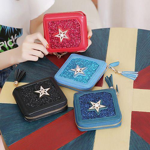 Zip Around Star Glitter Small Wallet