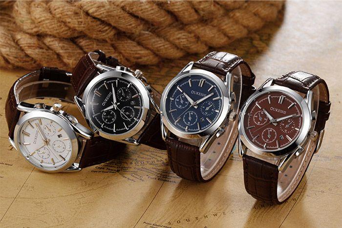 Faux Leather Date Quartz Watch