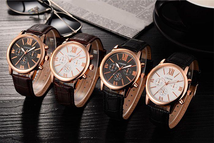 Faux Leather Strap Roman Numeral Quartz Watch