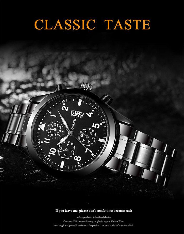 Stainless Steel Number Date Quartz Wrist Watch