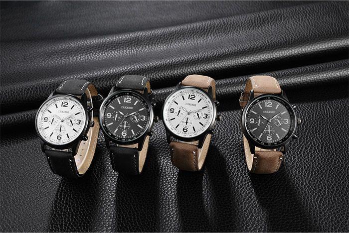 Faux Leather Strap Quartz Watch