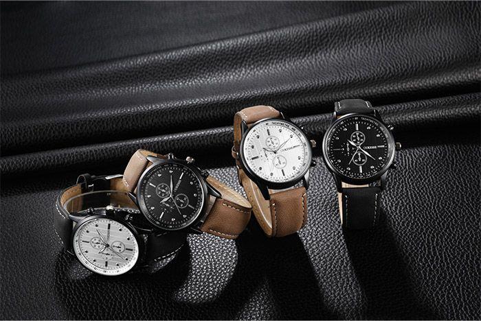 Faux Leather Strap Quartz Wrist Watch