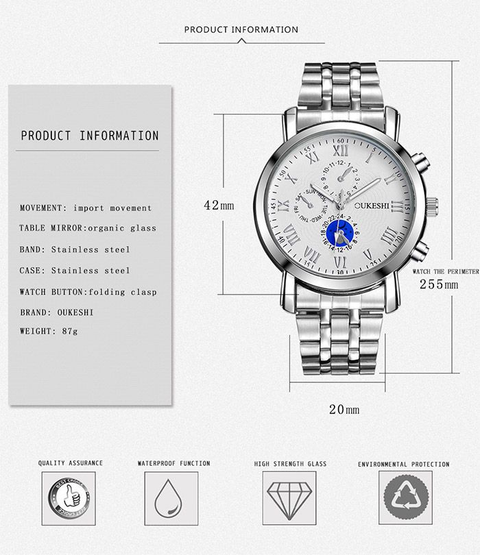 Alloy Strap Roman Numeral Quartz Watch