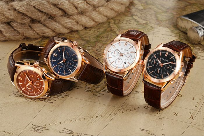 Faux Leather Date Quartz Wrist Watch