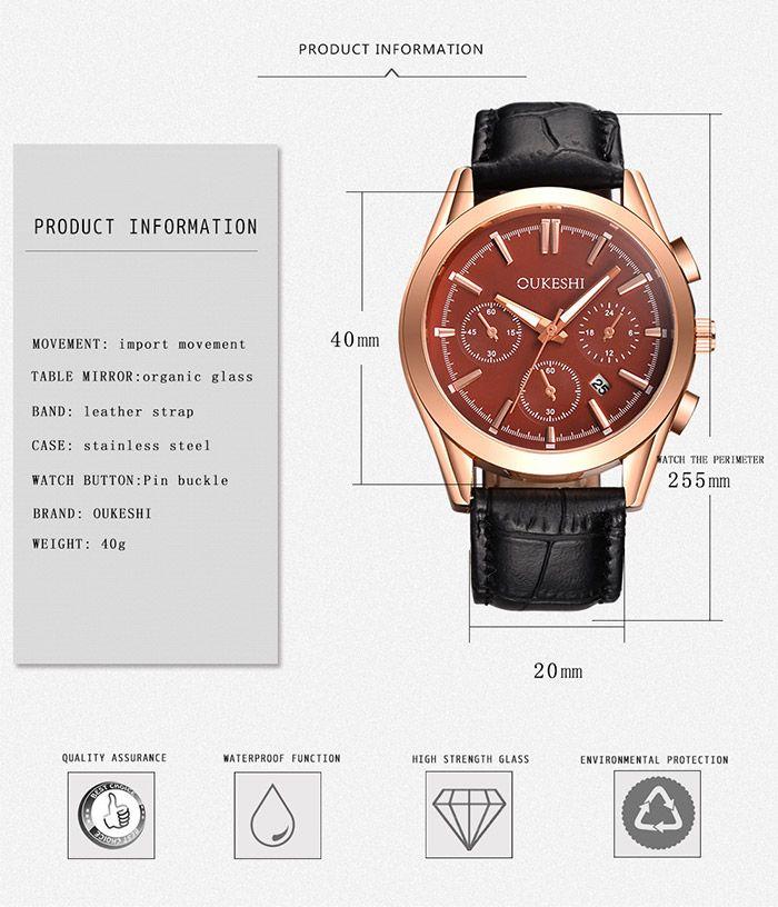 Faux Leather Date Quartz Wrist Watch