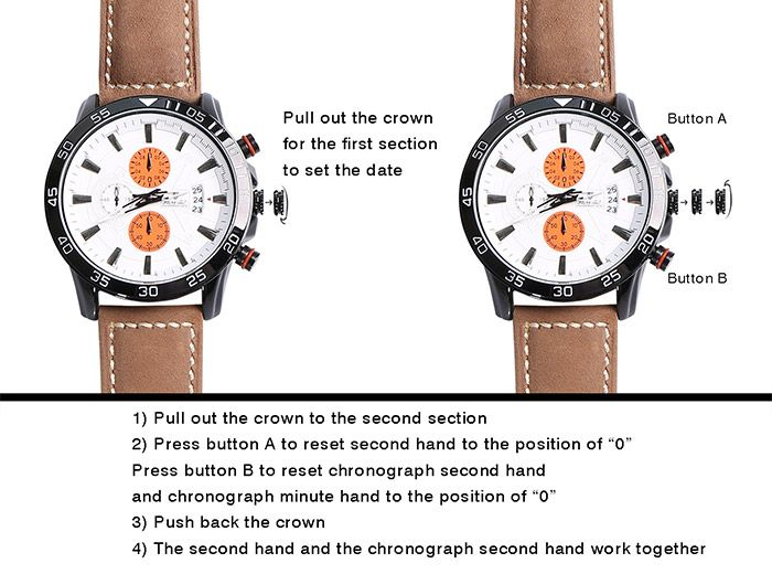 Faux Leather Strap Number Date Wrist Watch