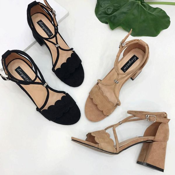 Suede Scalloped Chunky Heel Sandals