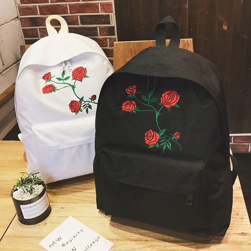 Rose Embroidered Canvas Backpack