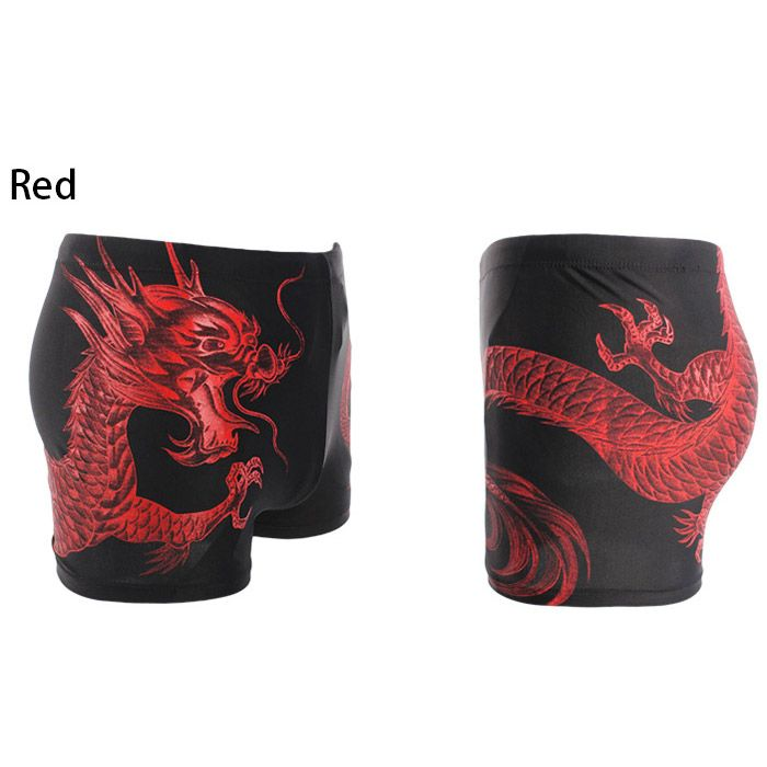 Dragon Printed Lace Up Swimming Trunks