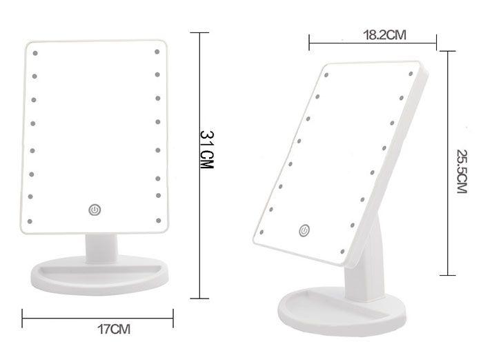 Touch Screen Adjustable Light 16 LEDs Desktop Makeup Mirror