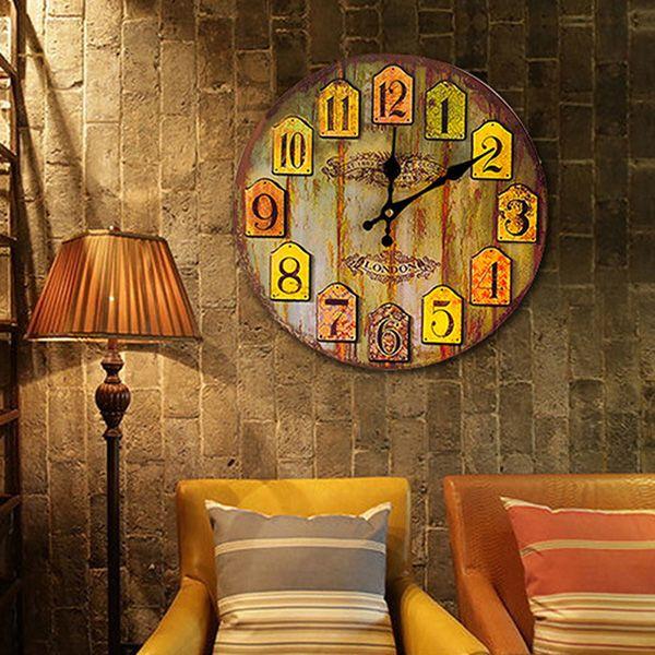 Vintage Analog Number Wood Round Wall Clock