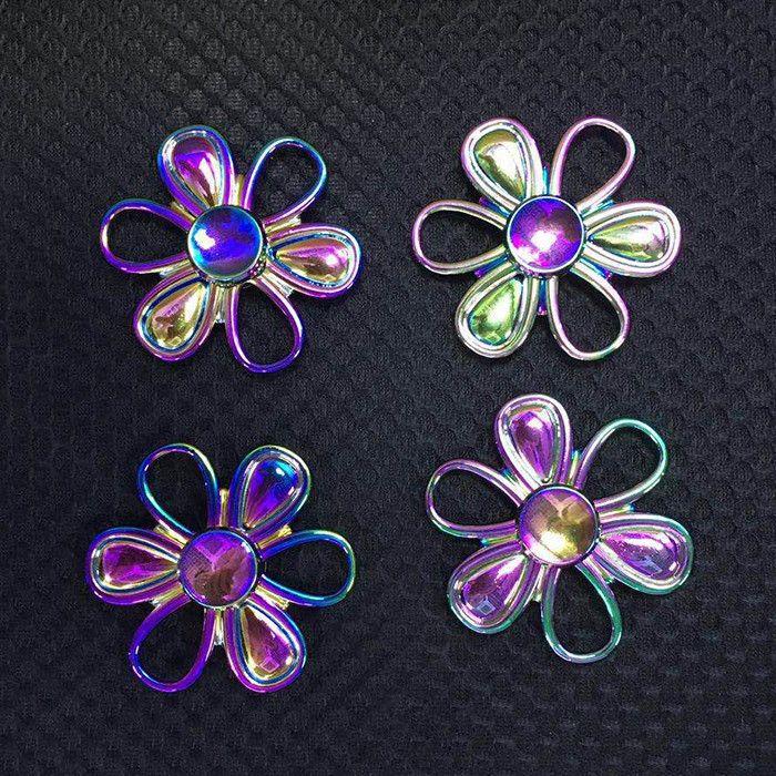 Fiddle Toy Flower Shape Colorful Fidget Metal Spinner