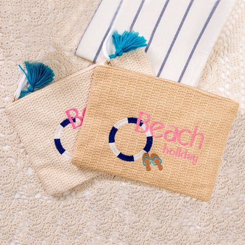 Beach Embroidered Straw Clutch bag