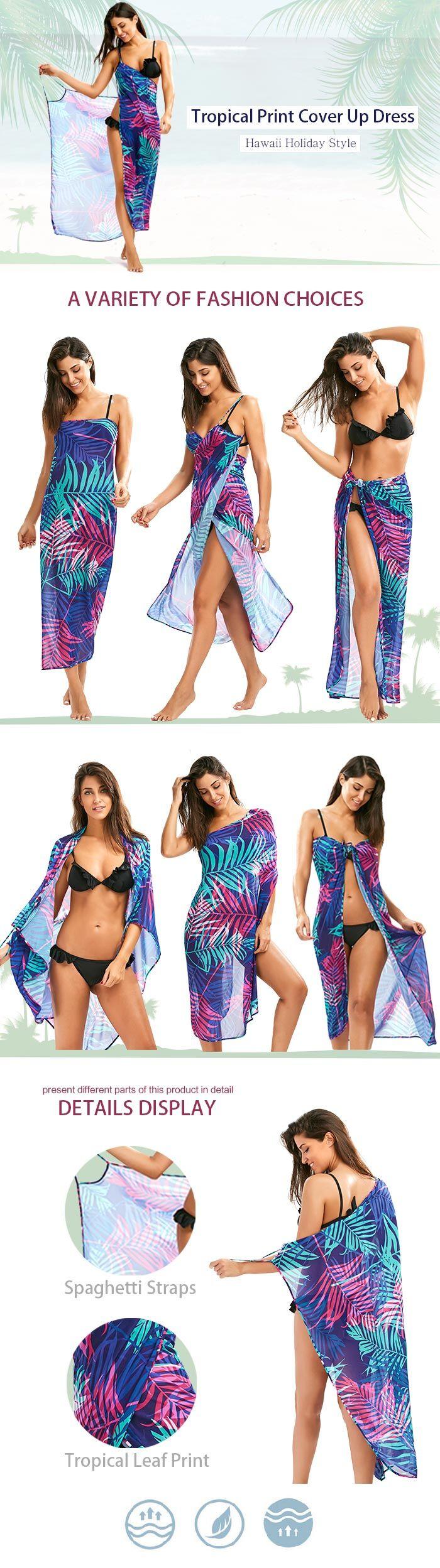 Tropical Leaf Cover Up Slip Dress