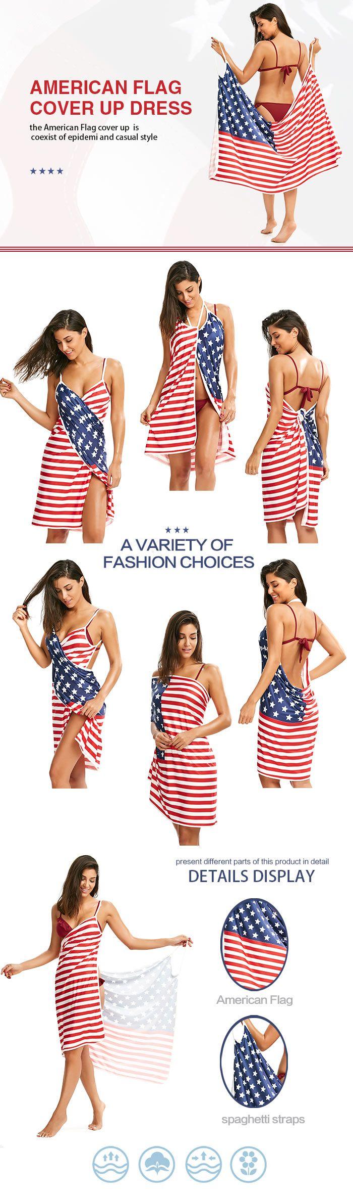Patriotic Cover Up American Flag Slip Dress