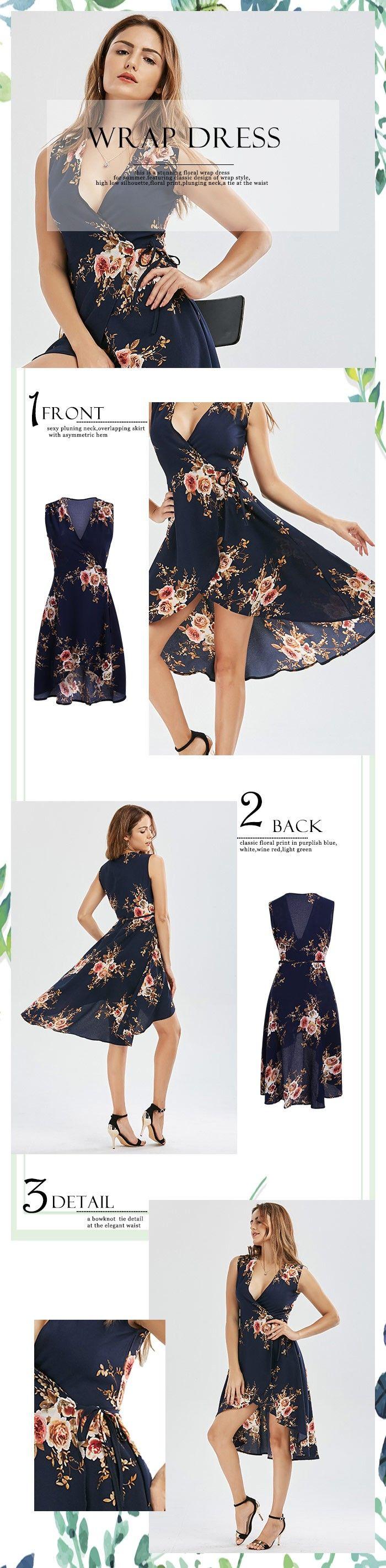 High Low Floral Wrap Dress