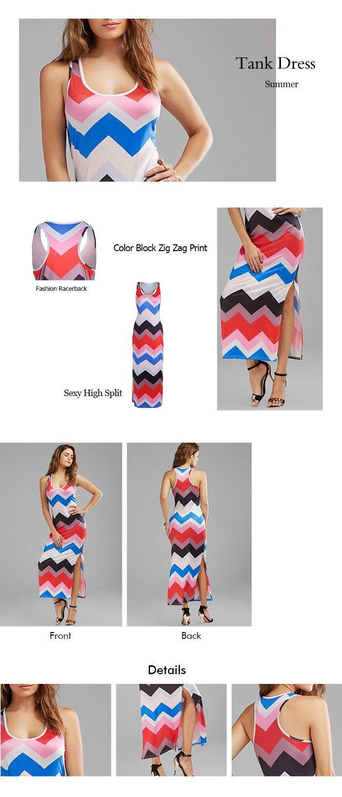 High Split Zig Zag Print Casual Maxi Dress