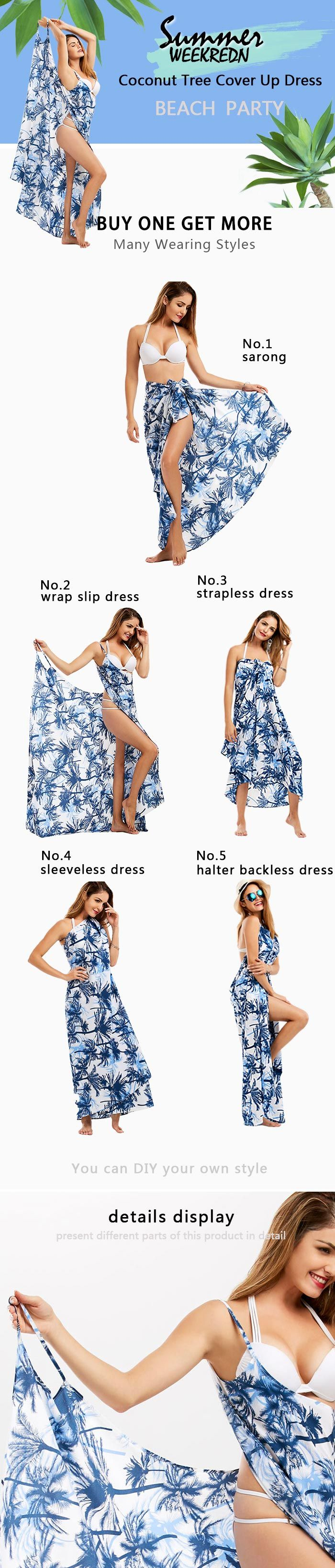 Coconut Tree Wrap Slip Cover Up Dress