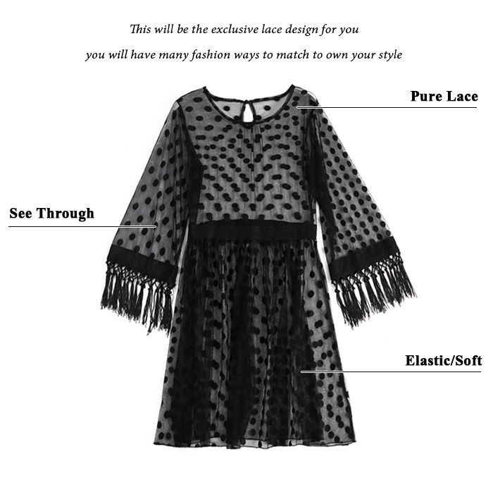 Sheer High Waist Polka Dot Lace Dress