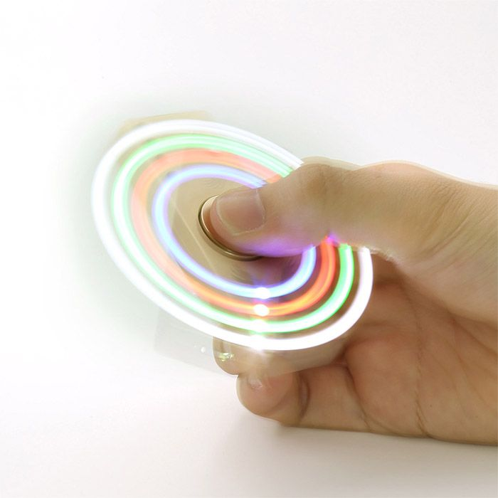Fidget Toy LED Light Alloy USB Cigar Lighter Hand Spinner
