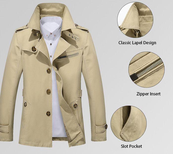Zip Lapel Button Up Slim Fit Jacket