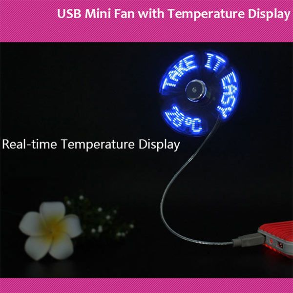 Mini ventilateur USB flexible avec afficheur de température de lettres LED