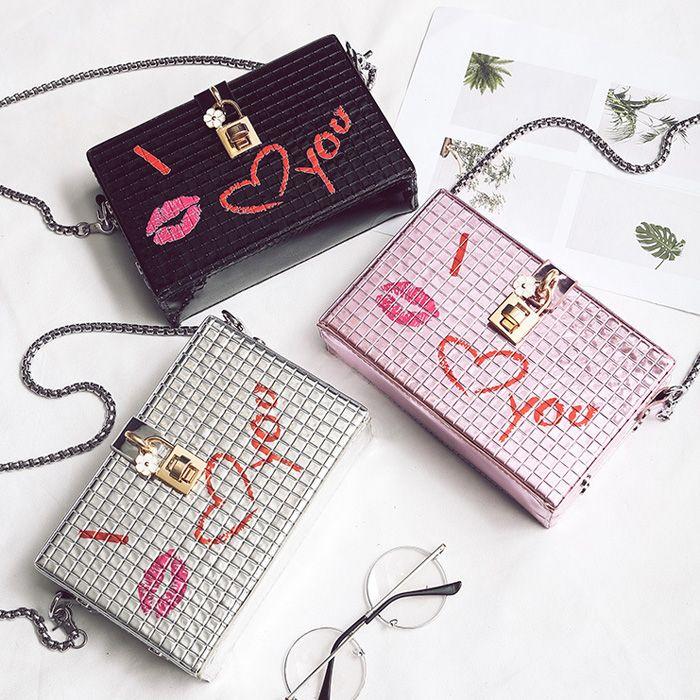 Lock Embellished Graphic Crossbody Bag
