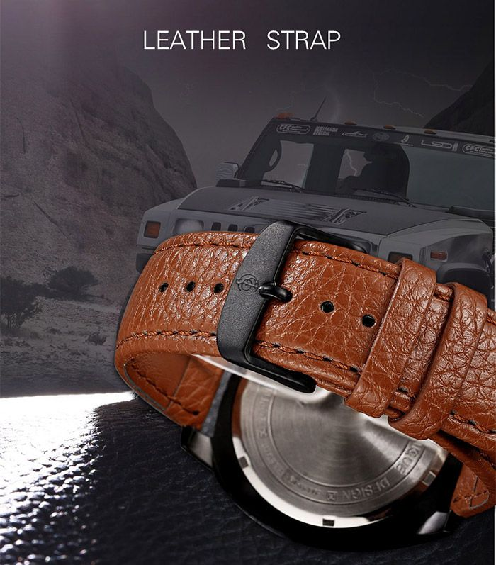 Faux Leather Strap Calendar Double Literal Quartz Watch