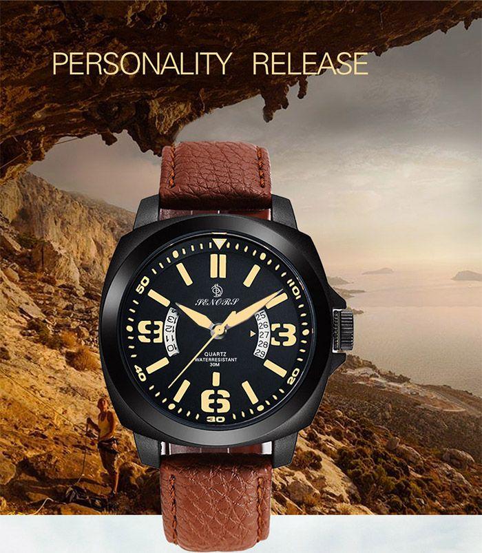 Faux Leather Strap Calendar Double Literal Quartz Watch