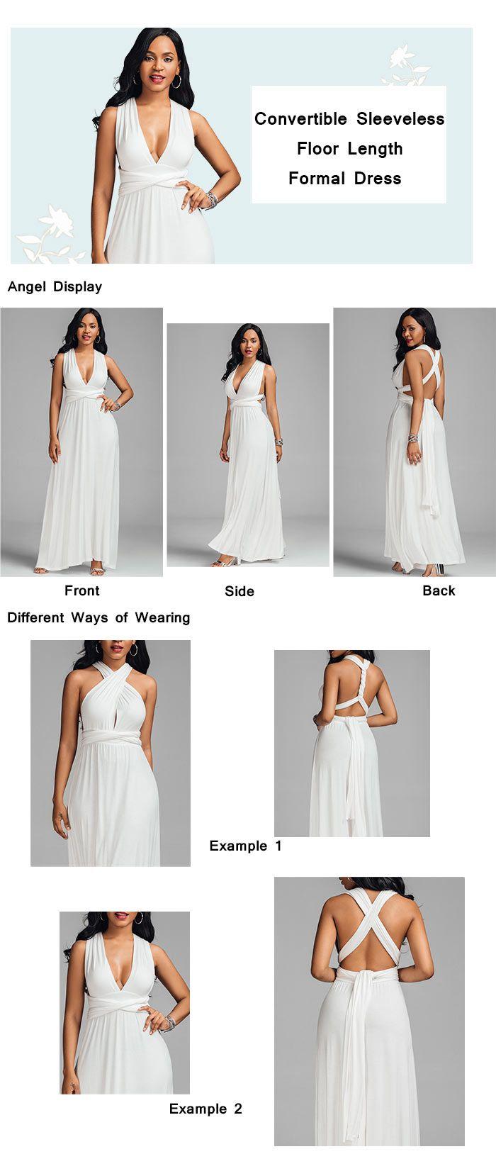 Sleeveless Convertible Floor Length Formal Dress