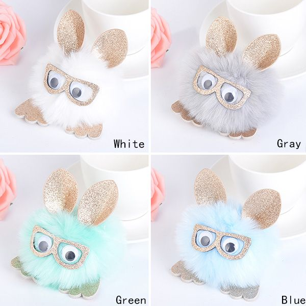 Eyeglasses Animal Pattern Pom Pom Ball Keychain