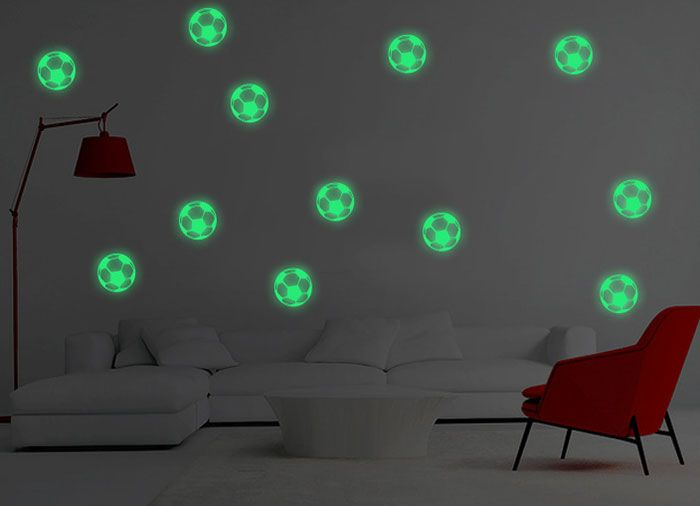 Cartoon Luminous Football Children's Bedroom Wall Sticker