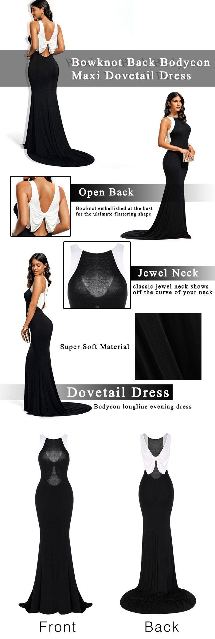 Bowknot Back Bodycon Maxi Dovetail Dress