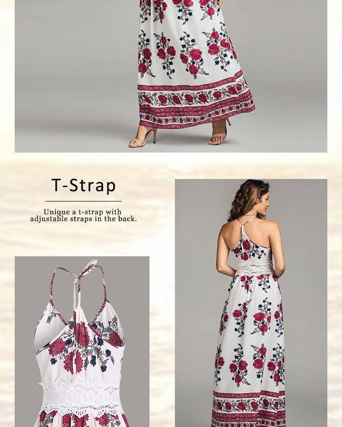 Floral Print Cutout Lace Panel Maxi Dress