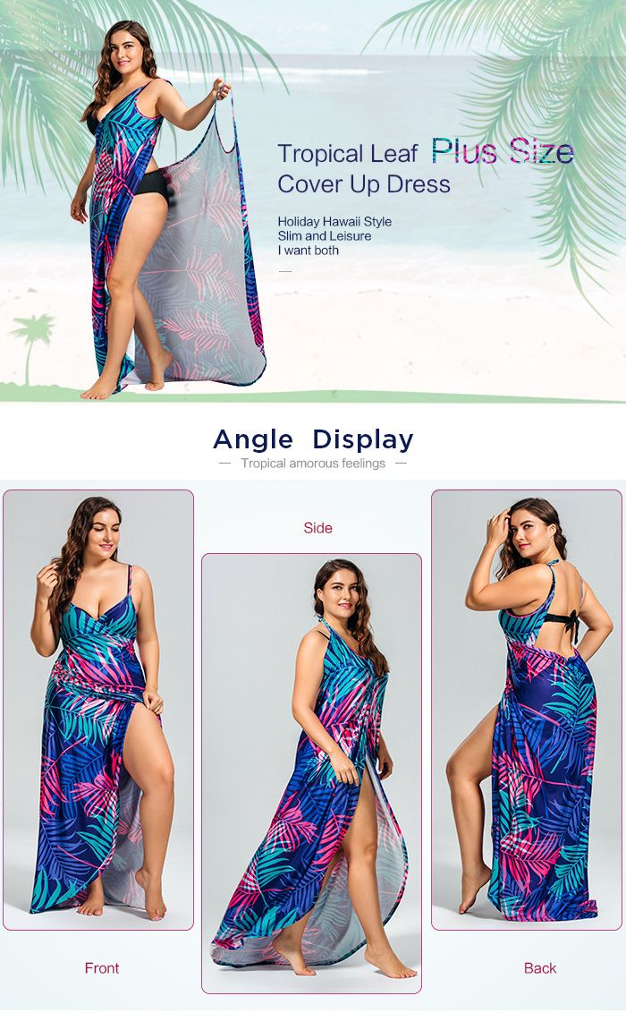 43% OFF] Tropical Leaf Printed Plus Size Cover Up Dress | Rosegal