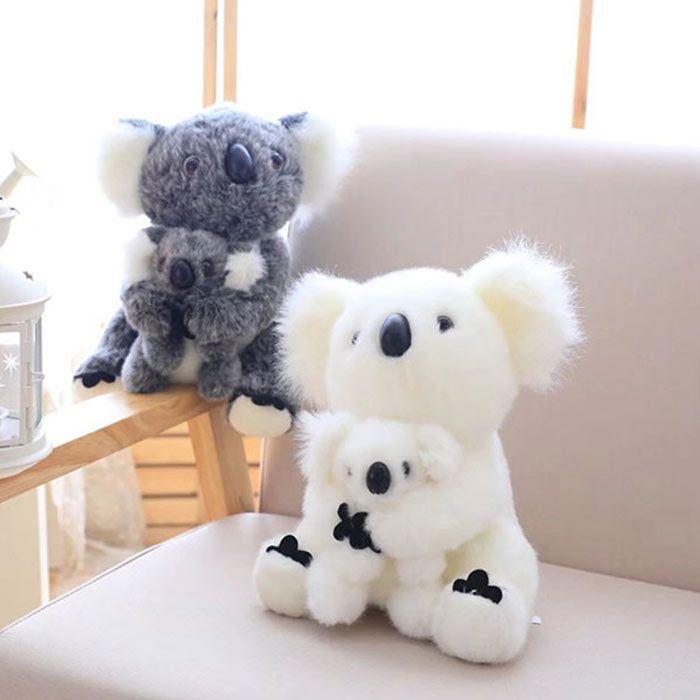 White Koala Mother And Baby Stuffed Animal Toy
