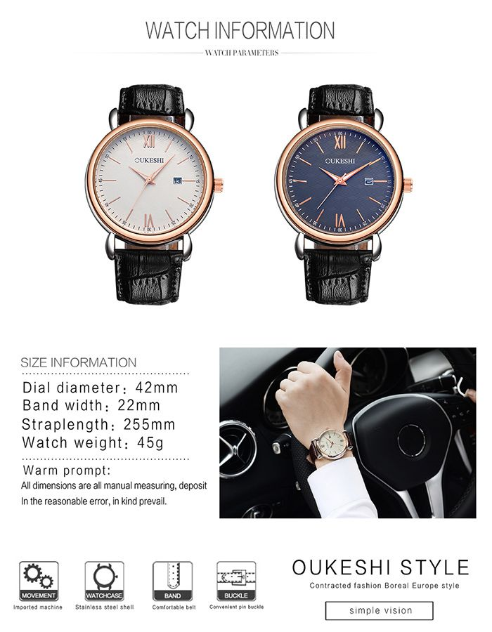 OUKESHI Faux Leather Strap Minimalist Date Watch