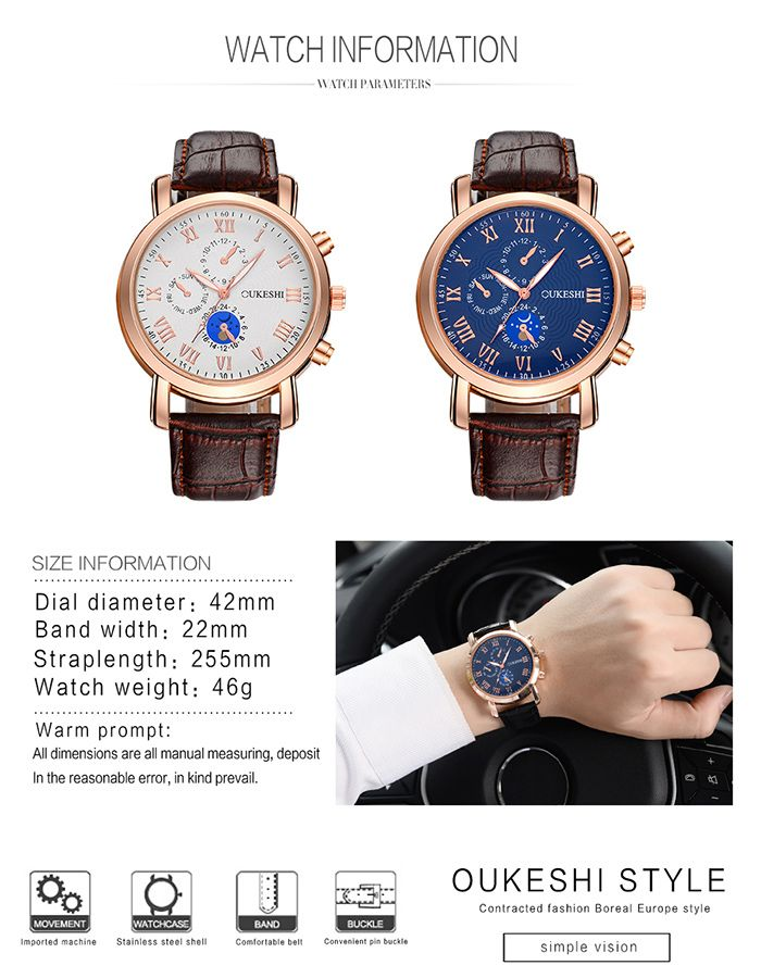 OUKESHI Roman Numeral Faux Leather Strap Watch
